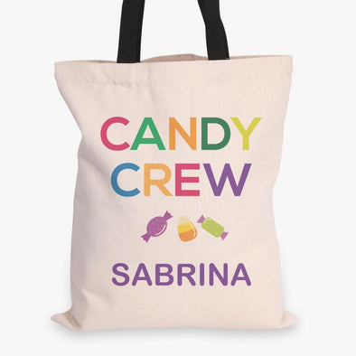 Candy Crew Custom Halloween Black Handle Tote Bag | Personalized Trick or Treat Bag.