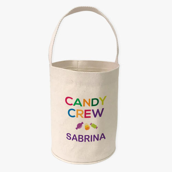 Candy Crew Custom Halloween Canvas Mini Tote Bucket | Personalized Trick or Treat Bag.