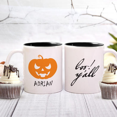 Boo Y'all Custom Pumpkin Coffee Mug | Personalized Halloween Gift