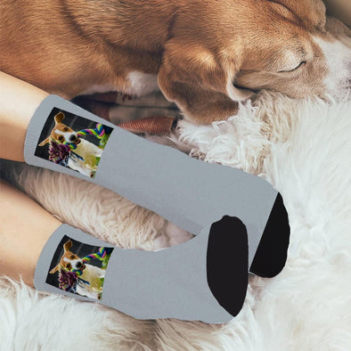 Dog Family Photo Personalized Tube Socks.