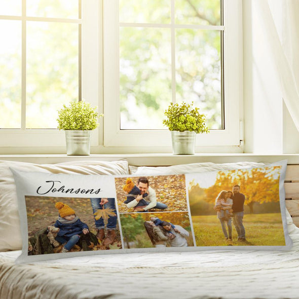 Personalized Family Pillow of Your Photos | Custom Photo Collage Body Pillow Case.