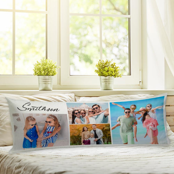 Personalized Family Pillow of Your Photos | Custom Photo Collage Body Pillow Case