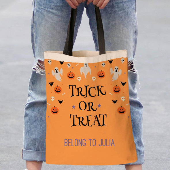 Trick Or Treat Custom Tote Bag | Personalized Halloween Bag.