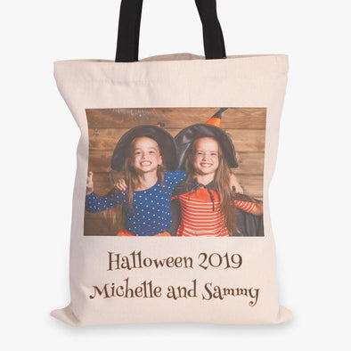 Photo Custom Halloween Tote Bag | Personalized Trick or Treat Bag.