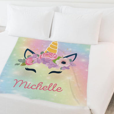 Rainbow Unicorn Personalized Kids Fleece Blanket | Customized w/ Name Baby Blanket.