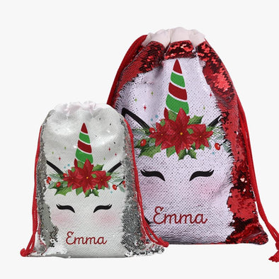 Custom Christmas Poinsettia Unicorn Sequin Drawstring Gift Sack | Personalized Santa Bag for Kids.