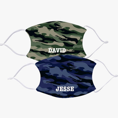 Personalized Camo Design Face Mask w/ 2 Filters Included | Customized Printed Reusable Fashion Facial Cover.