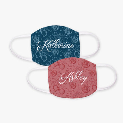 Personalized w/ Name Floral Design Face Mask | Custom Design Printed Reusable Fashion Facial Cover.