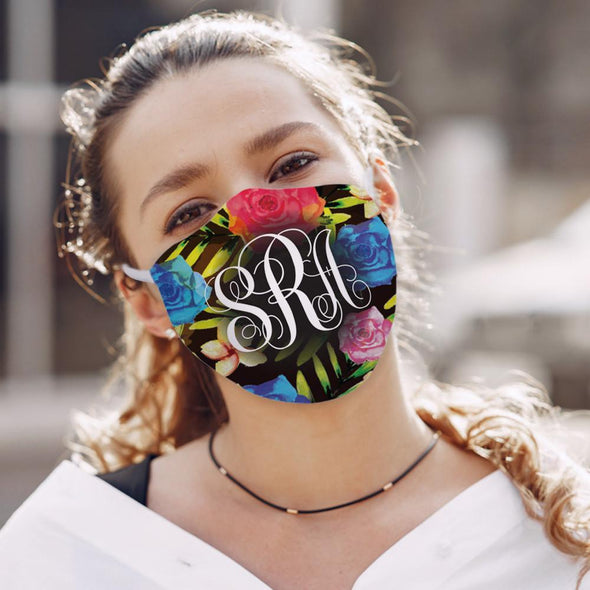 Personalized w/ Monogram Floral Design Face Mask | Custom Design Printed Reusable Fashion Facial Cover