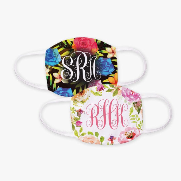Personalized w/ Monogram Floral Design Face Mask | Custom Design Printed Reusable Fashion Facial Cover.
