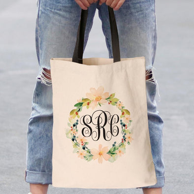 Hibiscus Wreath Monogrammed Black Handle Tote Bag.