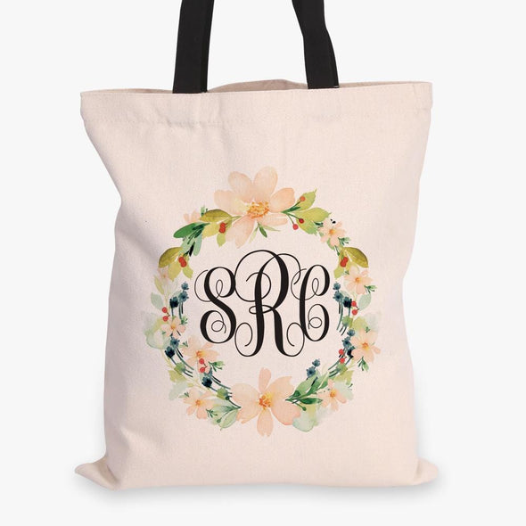 Hibiscus Wreath Monogrammed Black Handle Tote Bag