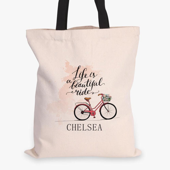 Life Is A Beautiful Ride Custom Black Handle Tote Bag.