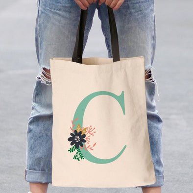 Personalized w/ Initial Floral Tote Bag | Custom Canvas Bag