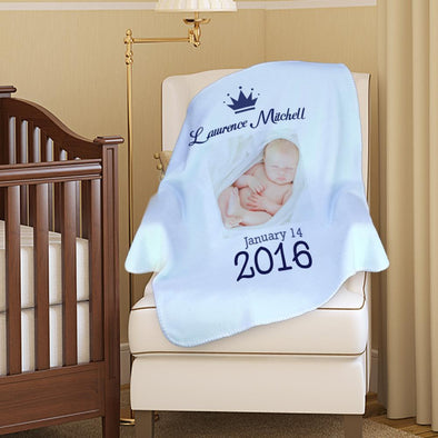 Personalized Photo Custom Name And Date Baby Blanket.