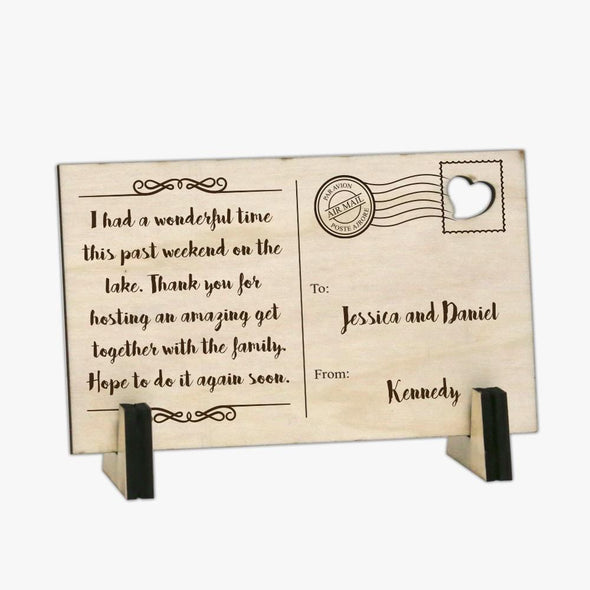 Flash Sale - Personalized Thank you Wood Postcard.