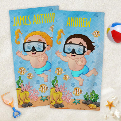 Under The Sea Personalized Beach Towel for Kids