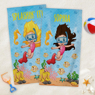 Snorkeling Personalized Beach Towel for Kids