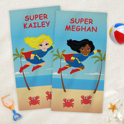 Super Hero Character Personalized Mini Beach Towel for Kids