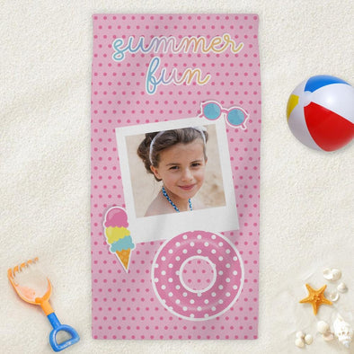 Summer Fun Photo Personalized Mini Beach Towel for Kids.