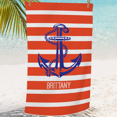 Personalized Sailor Anchor Mini Beach Towel for Kids