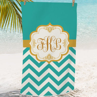 Turquoise Chevron Custom Mini Beach, Bath Towel for Kids