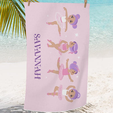 Ballerinas Personalized Beach or Bath Towel for Girls