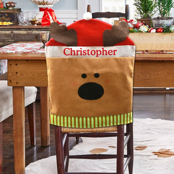 Exclusive Sale | Reindeer Holiday Time Custom Chair Cover.