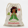 Winter Princess Personalized Christmas Drawstring Sack for Kids | Personalized Santa Bag.