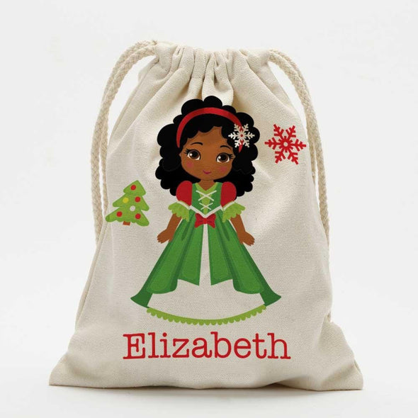 Winter Princess Personalized Christmas Drawstring Sack for Kids | Personalized Santa Bag