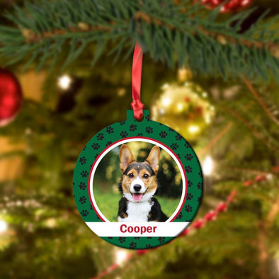 Paw Print Personalized Photo Round Metal Ornament.