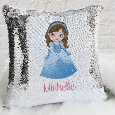 Kids Princess Custom Flip Sequin Decorative Throw Pillowcase.