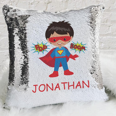 Kids Character Superhero Custom Flip Sequin Decorative Throw Pillowcase.