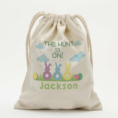 Personalized Easter Bunnies Kids Drawstring Sack.