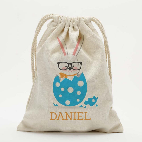 Custom Smart Easter Bunny Kids Drawstring Sack.