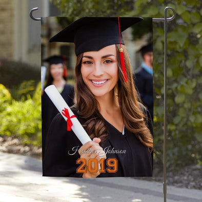 Graduate's Personalized Photo Garden Flag.