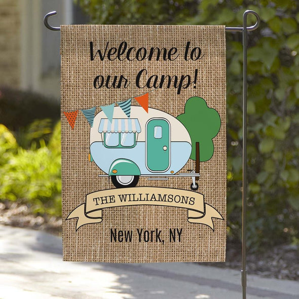 Welcome To Our Camp Personalized Garden Flag.