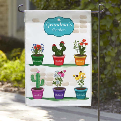 Grandma's Potted Plants Custom Garden Flag.