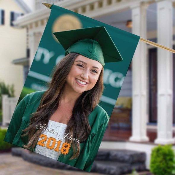 Graduate's Personalized Photo House Flag.
