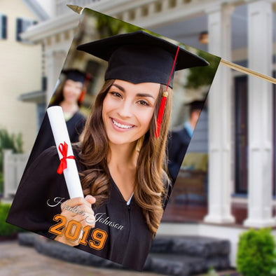 Graduate's Personalized Photo House Flag