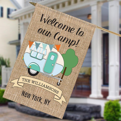 Welcome To Our Camp Personalized House Flag.