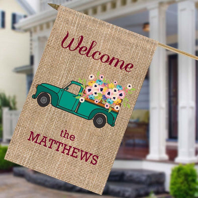 Personalized Flower Truck Welcome House Flag.