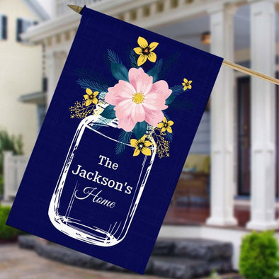 Flower Jar Personalized Home House Flag.