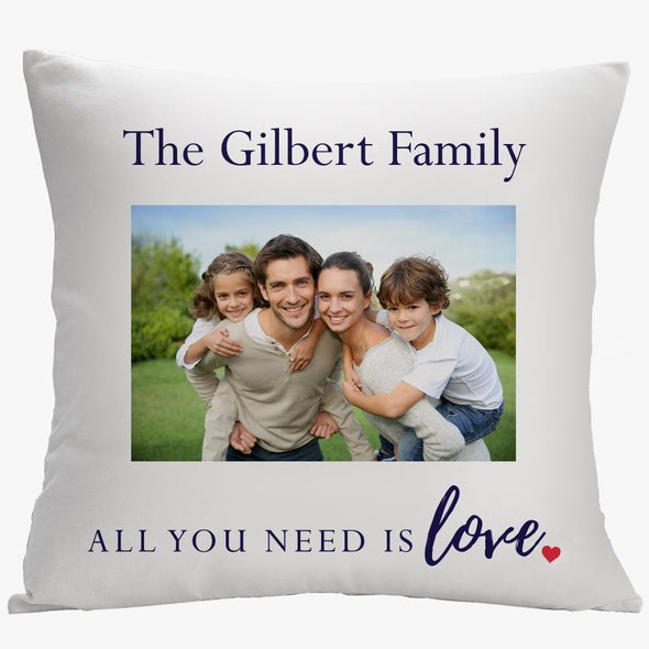 All You Need Is Love Personalized Photo Pillow Case | Custom Pillow Throw