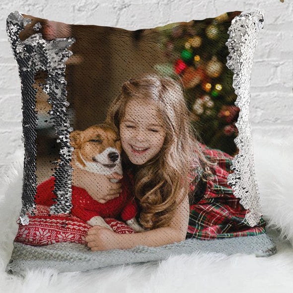 Exclusive Sale - Custom Magic Sequin Pillow Case of Your Photo | Personalized Reversible Mermaid Sequin Throw.