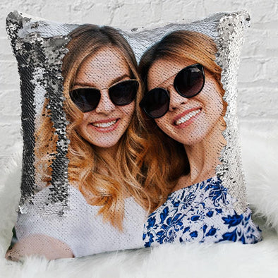 Exclusive Sale - Custom Magic Sequin Pillow Case of Your Photo | Personalized Reversible Mermaid Sequin Throw