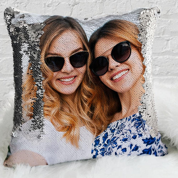 Custom Magic Sequin Pillow Case of Your Photo | Personalized Reversible Mermaid Sequin Throw