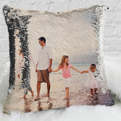 Family Custom Magic Photo Sequin Pillow Case | Personalized Reversible Mermaid Sequin Throw