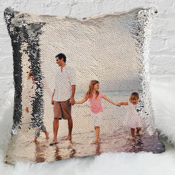 Family Custom Magic Photo Sequin Pillow Case | Personalized Reversible Mermaid Sequin Throw.
