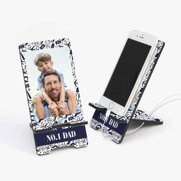 Custom No. 1 Dad Photo Cell Phone Stand